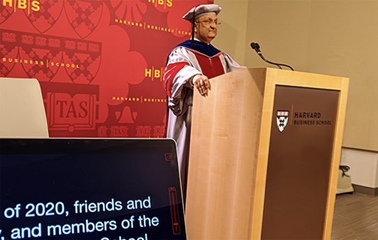Dean Nohria speakinbg at Commencement